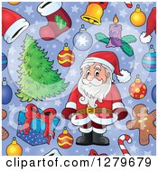 Clipart Of A Seamless Christmas Background Pattern Of Santa Gifts Ornaments And Trees On Purple Royalty Free Vector Illustration by visekart