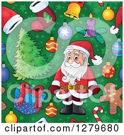 Clipart Of A Seamless Christmas Background Pattern Of Santa Gifts Ornaments And Trees On Green Royalty Free Vector Illustration by visekart