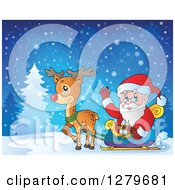 Clipart Of Santa Claus Waving And Riding In A Sleigh Pulled By Rudolph The Reindeer In A Winter Landscape Royalty Free Vector Illustration