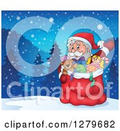 Clipart Of Santa Claus Waving Behind A Full Sack Of Gifts And Toys Over A Border Of A Winter Landscape Royalty Free Vector Illustration