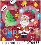 Clipart Of A Seamless Christmas Background Pattern Of Santa Gifts Ornaments And Trees On Red Royalty Free Vector Illustration by visekart