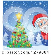 Clipart Of Santa Claus Peeking Around A Christmas Tree In A Snowy Winter Landscape Royalty Free Vector Illustration