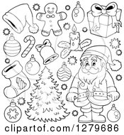 Clipart Of A Black And White Santa Claus A Christmas Tree And Decorations Royalty Free Vector Illustration by visekart