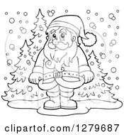 Clipart Of A Black And White Santa Claus Standing In A Snowy Forest Winter Landscape Royalty Free Vector Illustration