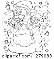 Clipart Of A Black And White Santa Claus Waving Behind A Full Sack Of Gifts And Toys Royalty Free Vector Illustration