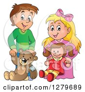 Clipart Of A Happy Brunette Caucasian Boy And Blond Girl Holding A Teddy Bear And Doll Royalty Free Vector Illustration by visekart