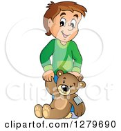 Clipart Of A Happy Black And White Boy Holding A Teddy Bear Royalty Free Vector Illustration