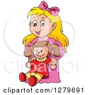 Clipart Of A Happy Blond Caucasian Girl Holding A Doll Royalty Free Vector Illustration by visekart