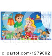 Clipart Of A Happy Brunette Caucasian Boy And Blond Girl Playing With Toys In A Room Royalty Free Vector Illustration by visekart