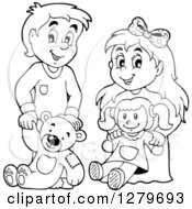 Clipart Of A Happy Black And White Boy And Blond Girl Holding A Teddy Bear And Doll Royalty Free Vector Illustration by visekart