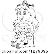 Clipart Of A Happy Black And White Girl Holding A Doll Royalty Free Vector Illustration