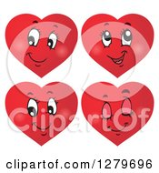 Clipart Of Happy Red Heart Characters With Different Expressions Royalty Free Vector Illustration