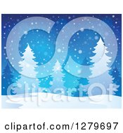 Clipart Of A Christmas Background Of Evergreens Trees In A Blizzard Royalty Free Vector Illustration