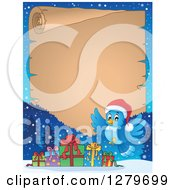 Clipart Of A Christmas Background Of A Bluebird And Gifts Over An Aged Parchment Sign And Snow Royalty Free Vector Illustration