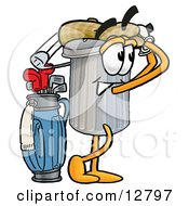 Clipart Picture Of A Garbage Can Mascot Cartoon Character Swinging His Golf Club While Golfing by Toons4Biz