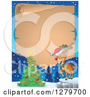 Clipart Of A Christmas Background Of A Rudolph Reindeer And Christmas Tree Over An Aged Parchment Sign And Snow Royalty Free Vector Illustration by visekart