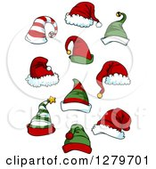 Clipart Of Christmas Elf And Santa Hats Royalty Free Vector Illustration