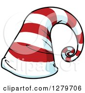 Clipart Of A Tall Curling Red And White Striped Christmas Elf Hat Royalty Free Vector Illustration