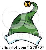 Clipart Of A Green And White Christmas Elf Hat Royalty Free Vector Illustration