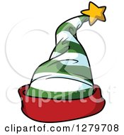 Clipart Of A Green And White Striped Christmas Elf Hat With A Red Rim Royalty Free Vector Illustration