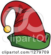 Clipart Of A Green And Red Christmas Elf Hat With A Bell Royalty Free Vector Illustration