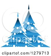 Clipart Of Blue Christmas Trees With White Garlands And Ornaments Royalty Free Vector Illustration by Vector Tradition SM