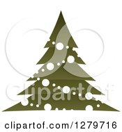 Clipart Of A Dark Green Christmas Tree With White Garlands And Ornaments Royalty Free Vector Illustration by Vector Tradition SM