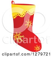 Clipart Of A Gold And Red Snowflake Christmas Stocking Royalty Free Vector Illustration