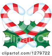 Clipart Of Christmas Candy Canes Forming A Heart Over Holly Royalty Free Vector Illustration