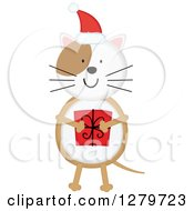 Clipart Of A Happy Christmas Cat Wearing A Santa Hat And Holding A Gift Royalty Free Vector Illustration
