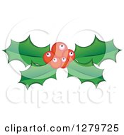 Clipart Of Red Berries And Christmas Holly Leaves Royalty Free Vector Illustration