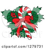 Clipart Of A Christmas Candy Cane With A Bow Over Holly Royalty Free Vector Illustration