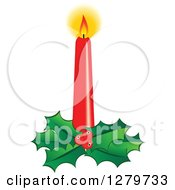 Clipart Of A Lit Red Christmas Candle With A Bed Of Holly Royalty Free Vector Illustration