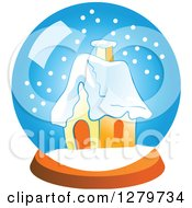 Clipart Of A Cottage In A Snow Globe Royalty Free Vector Illustration