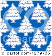Clipart Of A Seamless Background Design Pattern Of Snow Flocked Evergreen Trees On Light Blue Royalty Free Vector Illustration