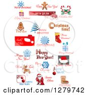 Clipart Of Christmas Text And Icon Designs Royalty Free Vector Illustration