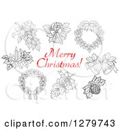 Clipart Of A Red Merry Christmas Greeting With Black And White Decor Items Royalty Free Vector Illustration by Vector Tradition SM