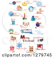 Clipart Of Christmas Text And Icon Designs 2 Royalty Free Vector Illustration