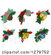 Clipart Of Design Elements Of A Snowflake Bell Pinecone And Baubles Over Christmas Holly Royalty Free Vector Illustration by Vector Tradition SM