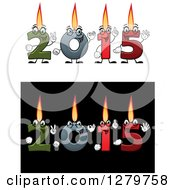 Clipart Of Colorful Number Candles Lit And Forming New Year 2015 On White And Black Backgrounds Royalty Free Vector Illustration
