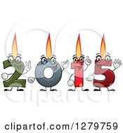 Clipart Of A Colorful Number Candles Lit And Forming New Year 2015 Royalty Free Vector Illustration by Vector Tradition SM