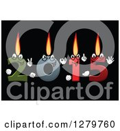 Clipart Of A Colorful Number Candles Lit And Forming New Year 2015 On Black Royalty Free Vector Illustration by Vector Tradition SM