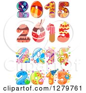Clipart Of Funky And Cake And Frosting Patterned New Year 2015 Designs Royalty Free Vector Illustration