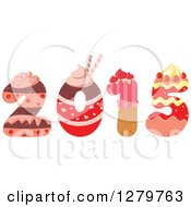 Clipart Of A Cake And Frosting Patterned New Year 2015 Royalty Free Vector Illustration by Vector Tradition SM