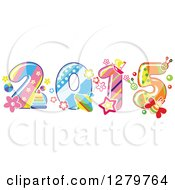 Clipart Of A Stripes Toys And Dot Patterned New Year 2015 Royalty Free Vector Illustration by Vector Tradition SM