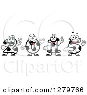 Clipart Of Happy Soccer Ball Number Characters Forming New Year 2015 Royalty Free Vector Illustration