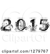 Clipart Of A Black And White Retro Ornate Floral Styled New Year 2015 Royalty Free Vector Illustration by Vector Tradition SM