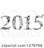 Clipart Of A Black And White Ornate Floral Styled New Year 2015 Royalty Free Vector Illustration by Vector Tradition SM