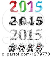 Clipart Of Origami Floral And Soccer New Year 2015 Designs Royalty Free Vector Illustration