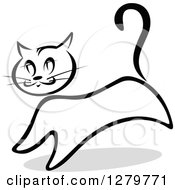 Clipart Of A Black And White Sketched Standing Cat And A Gray Shadow Royalty Free Vector Illustration by Vector Tradition SM